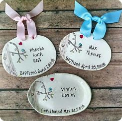 Personalized Bluebird Dish or Plaque - Baptism - Birth Announcement