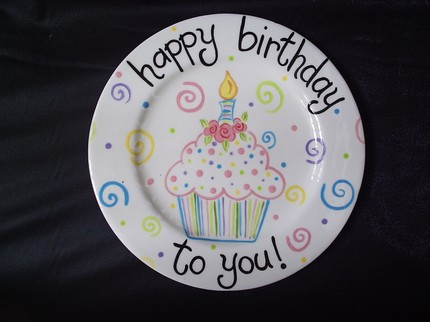 Cupcake Bouquet Personalized Ceramic Birthday Plate