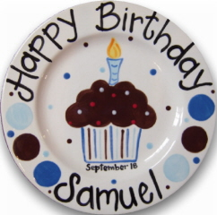 Personalized Ceramic Chocolate Cupcake Birthday Plate