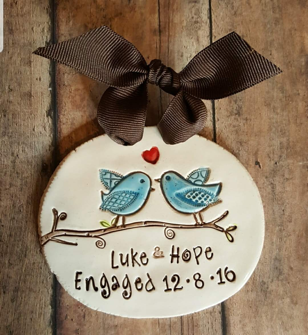 MudHutt Studio Lovebirds Engagement Anniversary Wedding Ornament