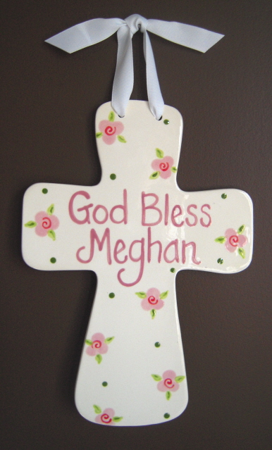 "Jumbo ""God Bless"" Personalized Fluted Cross"