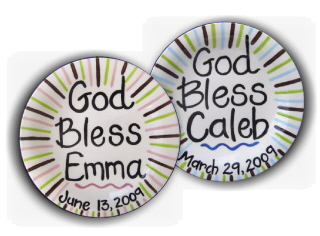 Personalized Ceramic GOD BLESS plate