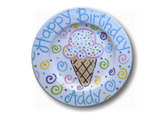 Ice Cream Cone - Happy Birthday Plate