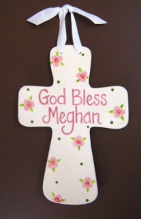 Jumbo &quot;God Bless&quot; Personalized Fluted Cross