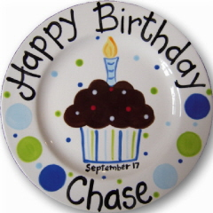Personalized Ceramic Chocolate Cupcake Birthday Plate  sc 1 st  Studio J Company : personalized ceramic birthday plates - pezcame.com
