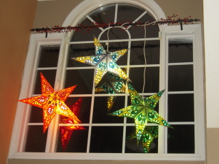 Star paper lanterns display window