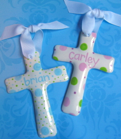 Personalized Whimsical Ceramic Cross