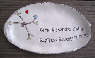 Bluebird Dish Personalized - Baptism - Birth Announcement