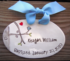 Personalized Bluebird Plaque - Baptism - Birth Announcement