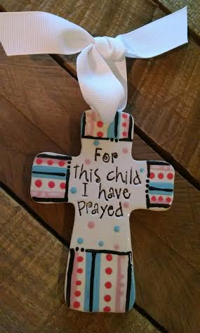 For this child I have prayed ceramic cross
