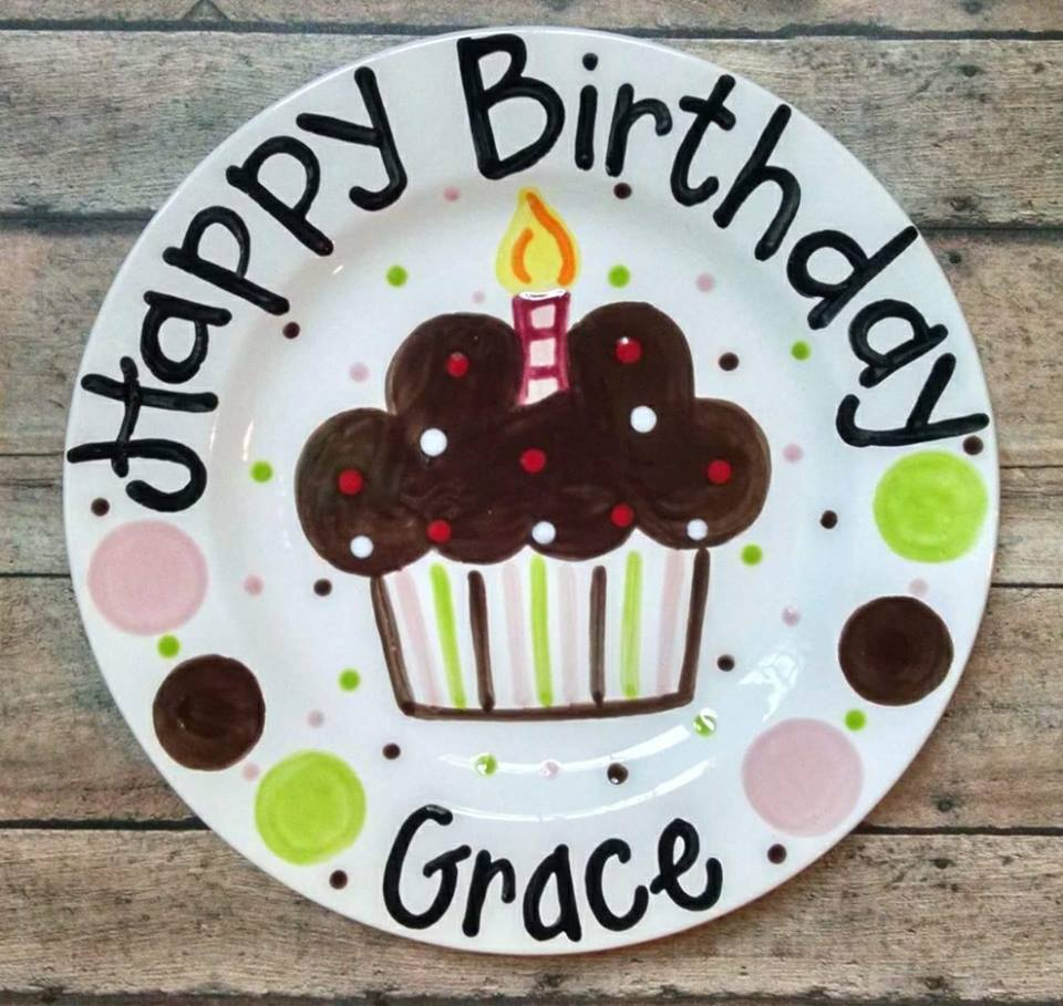 Personalized Ceramic Girly Cupcake Birthday Plate