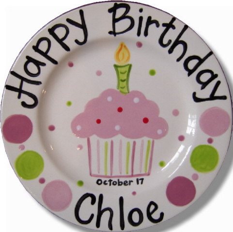 Personalized Ceramic Pink Cupcake Birthday Plate