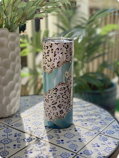 Insulated Skinny Tumbler - Turquoise Leopard 20oz