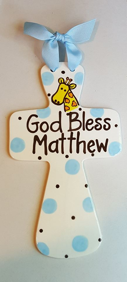 """Jumbo """"God Bless"""" Personalized Fluted Cross"""